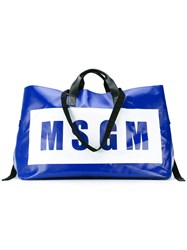 Msgm Oversized Logo Print Tote Women Leather Polyester Pvc One Size Blue