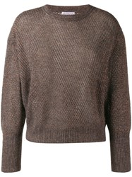 Brunello Cucinelli Glitter Look Knit Jumper Grey