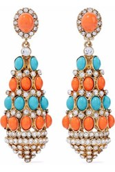 Kenneth Jay Lane Gold Tone Stone And Crystal Clip Earrings Gold