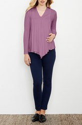Maternal America Women's Draped Nursing Top Lilac