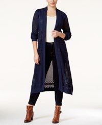 Belldini Plus Size Pointelle Stitch Duster Cardigan