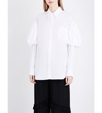 Simone Rocha Puff Sleeve Cotton Shirt White