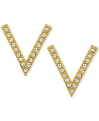 Rachel Roy Gold Tone Pave V Stud Earrings
