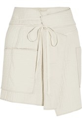 Isabel Marant Bird Quilted Cotton Wrap Mini Skirt White
