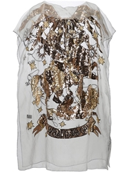 Ktz Sequin Embellished Sheer Dress Metallic