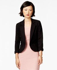 Bar Iii Notched Lapel Ponte Knit Cropped Blazer Deep Black