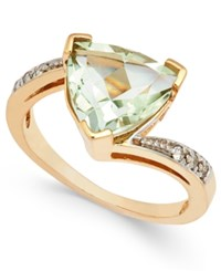 Macy's Green Quartz 3 1 4 Ct. T.W. And Diamond Accent Ring In 14K Gold Yellow Gold