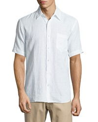 Neiman Marcus Short Sleeve Linen Chambray Shirt White