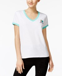 Mighty Fine Juniors' Gem Embroidered Ringer T Shirt White Teal