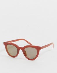 Pieces Rounded Sunglasses Red