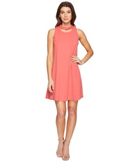 Christin Michaels Harlyn Sleeveless Dress With Neckline Detail Coral Women's Dress