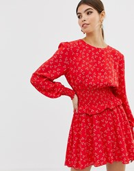 Finders Keepers Long Sleeve Flippy Dress In Ditsy Print Red