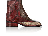 Dries Van Noten Snakeskin Stamped Leather Ankle Boots Red