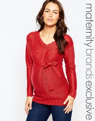 Mama Licious Mamalicious V Neck Tie Belt Jumper Red