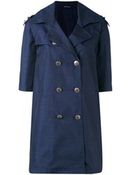 Tagliatore Buttoned Coat Women Polyester Cupro 42 Blue