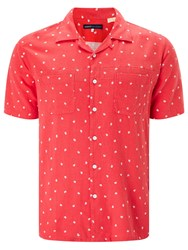Levi's Made And Crafted Floral Cotton Linen Riviera Shirt Ditzy Red