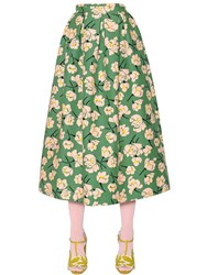 Rochas Magnolia Printed Cotton Duchesse Skirt