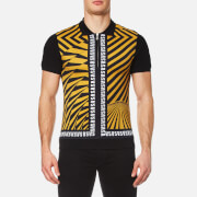 Versus By Versace Men's All Over Printed Polo Shirt Yellow Black Yellow Black