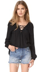 Bb Dakota Jack By Boothe Lace Up Top Black