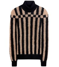 Loewe Striped Mohair Blend Turtleneck Sweater Black