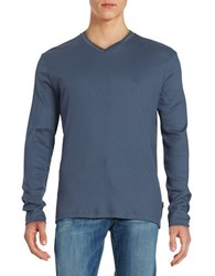 Calvin Klein Ribbed Cotton V Neck Shirt Grey Blue