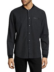 Civil Society Classic Fit Textured Cotton Shirt Navy