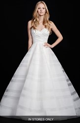 Women's Hayley Paige 'Lily' Strapless Taffeta And Tulle Stripe Skirt Ballgown In Stores Only