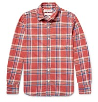 Remi Relief Embellished Checked Cotton Flannel Shirt Red