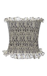 Rosie Assoulin Smocked Strapless Top Blue Brown White