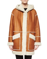 Goes Hooded Leather Coat W Shearling Fur Trim Women's