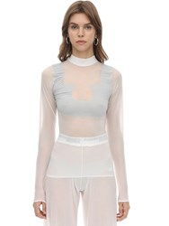 Courreges Long Sleeved Mesh Top White