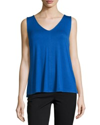 Laundry By Shelli Segal Cross Back Chiffon Panel Tank C.Blue