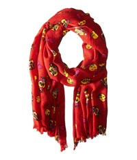 Betsey Johnson Betmoji Day Wrap Red Scarves