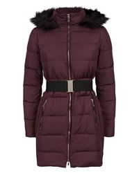 Jaeger Waisted Long Puffer Jacket Purple