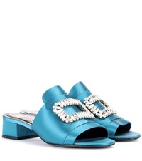 Roger Vivier Slipper New Strass Crystal Embellished Satin Sandals Blue