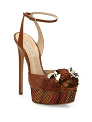 Casadei Fringe Leather Ankle Strap Platform Sandals Tan