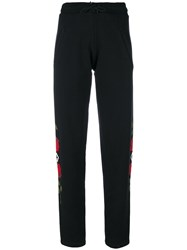 Marcelo Burlon County Of Milan Rose Print Track Pants Cotton M Black