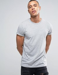 Asos T Shirt With Crew Neck And Roll Sleeve In Grey Marl Grey Marl