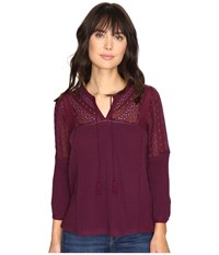 Lucky Brand Eyelet Peasant Top Potent Purple Women's Clothing
