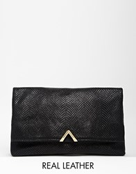 Reiss Suede Clutch With Triangle Detail In Black Blacksnake