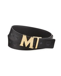 Mcm Claus Golden Reversible Visetos Saffiano Belt Black