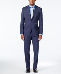 Dkny Men's Slim Fit Striped Navy Suit