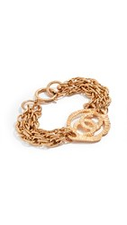 Wgaca What Goes Around Comes Around Chanel Cc In Medallion Bracelet Gold