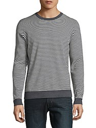 Saks Fifth Avenue Striped Crewneck Sweater Charcoal White