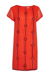 Great Plains Karla Stitch Embroidered Dress Red