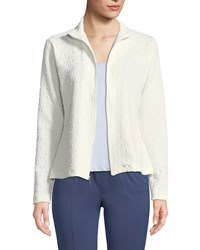 Grayse Studded Scuba Zip Front Jacket White