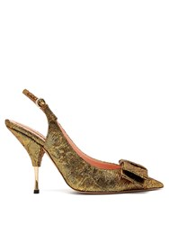 Rochas Miki Brocade Slingback Pumps Gold