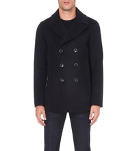 Emporio Armani Double Breasted Wool Blend Peacoat Blu Marine