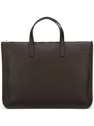 Loewe Embossed Logo Laptop Bag Brown