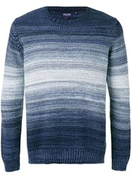 Woolrich Striped Knitted Sweater Blue